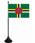 Dominica Desk / Table Flag with plastic stand and base.